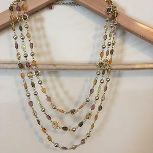 Earth tone bead multi-strand necklace